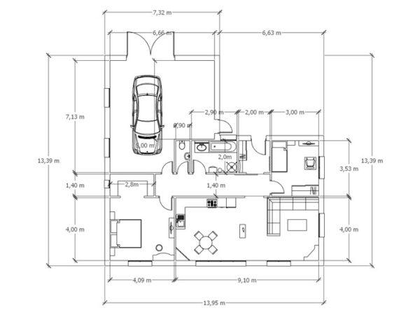 Moderní bungalov pudorys