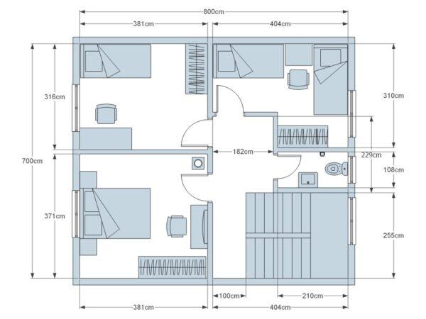 Moderní domy na klíč půdorys